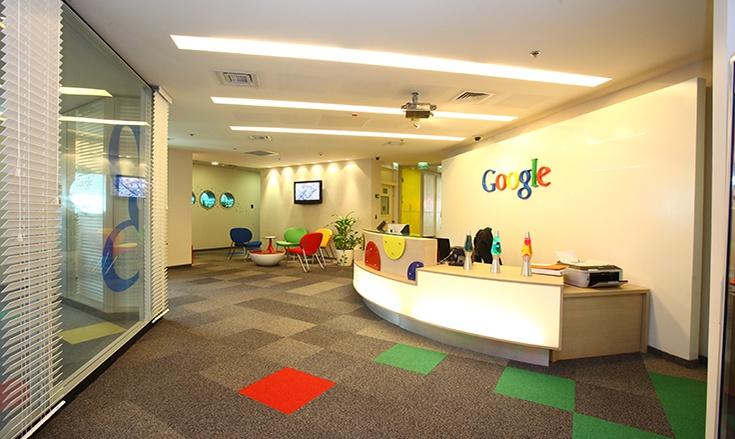 Dalles de moquette du siège européen de Google à Dublin, en Irlande