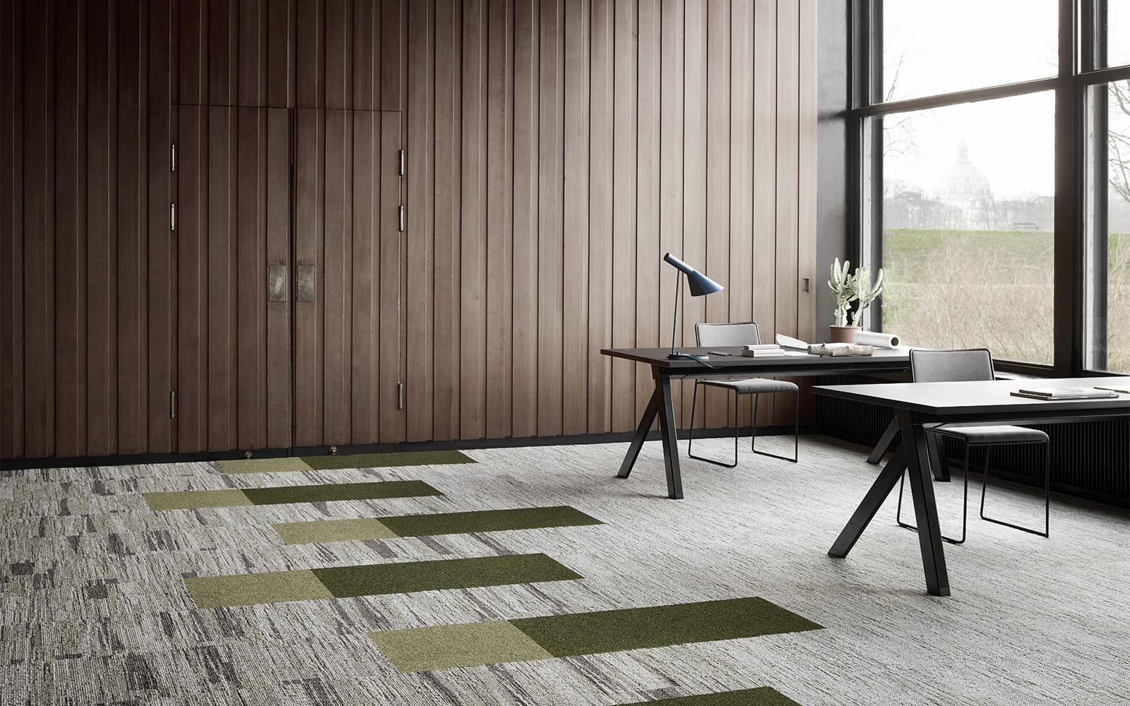 Design de moquette durable en beige et vert