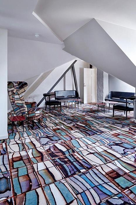 Dalles originales par Tom Dixon dans les bureaux de Brønnums Hus à Copenhague, au Danemark