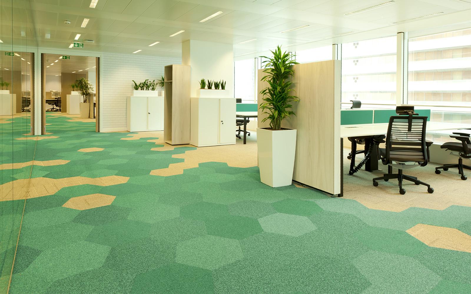 Dalles hexagonales ege dans différentes nuances de vert et de jaune, utilisées pour indiquer le chemin dans un bureau